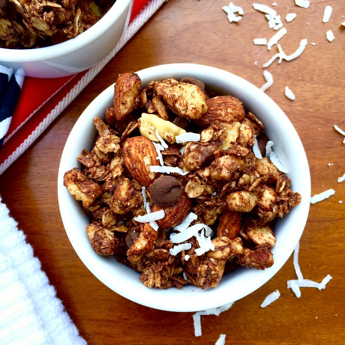 Double Chocolate Coconut Dessert Granola. All the chocolate, all the flavor, all healthy.