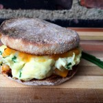 An easy cheesy egg sandwich, delicious for breakfast, lunch or dinner. It's the perfect way to get great and filling food in your face fast.