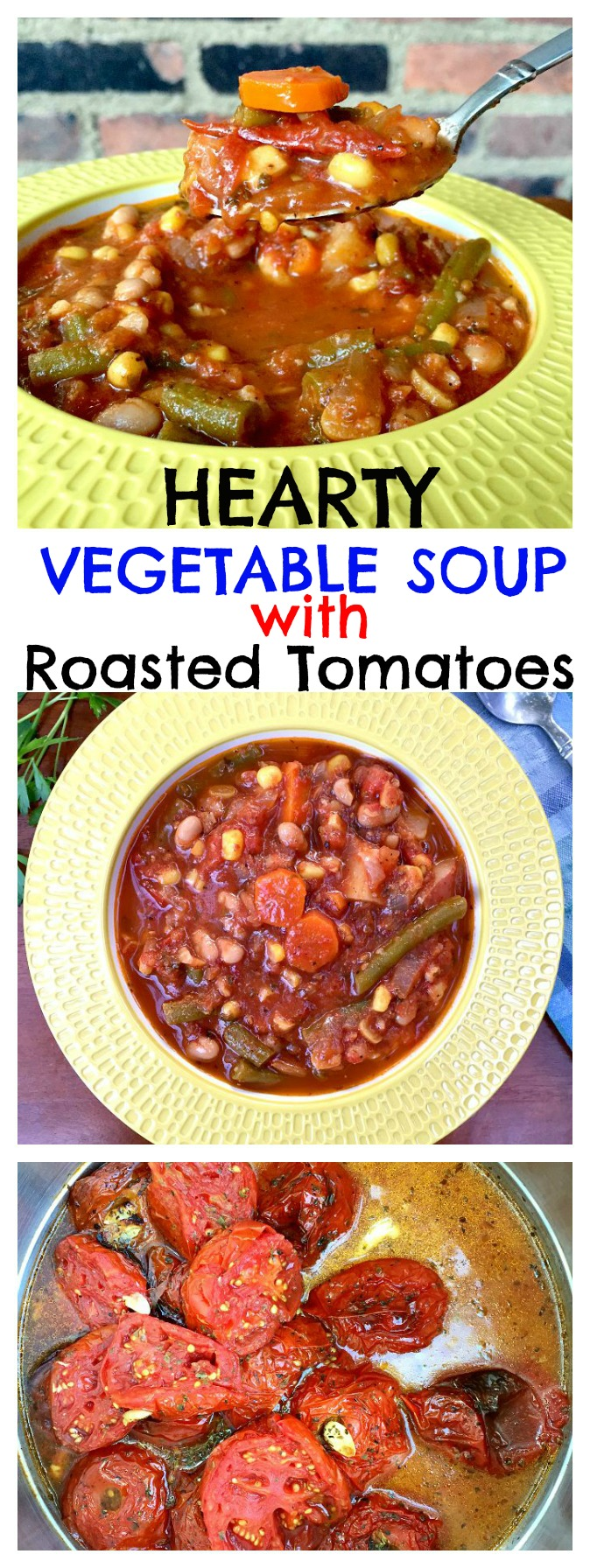 This hearty vegetable soup packs a bounty of fresh produce into one dish. The roasted tomatoes bring depth to the broth and flavor the bowl. Kick back and enjoy this satisfying, comforting and nourishing Vegetable Soup.