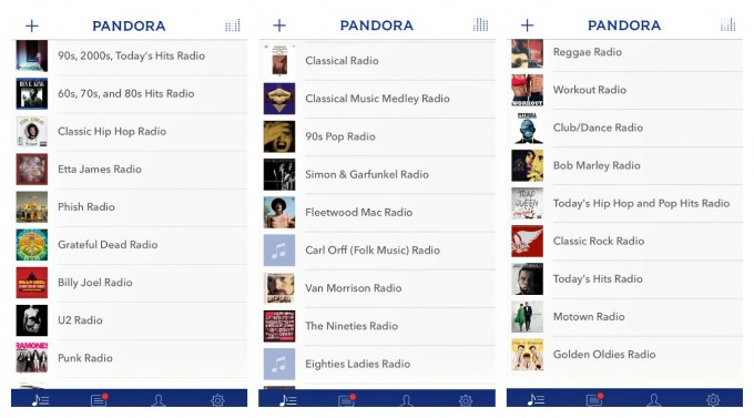 Pandora Stations Collage