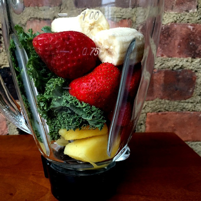 Pineapple, Kale, Strawberries, Raspberries and Banana Smoothie