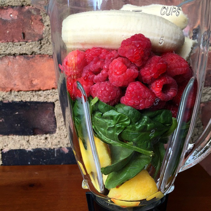 Pineapple, Spinach, Raspberry, Banana Smoothie