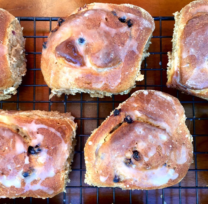 Blueberry Cream Cheese Buns with Lemon Zest