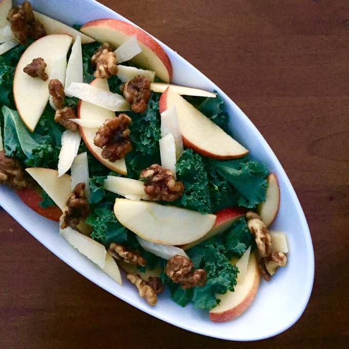 Kale Salad with Apples, Parm and Candied Walnuts