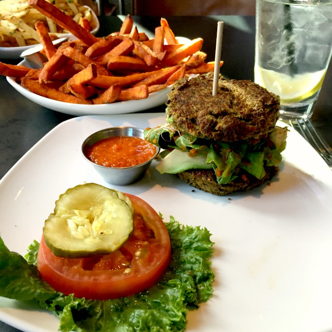 Veggie Burger and Sweet Potato Fries
