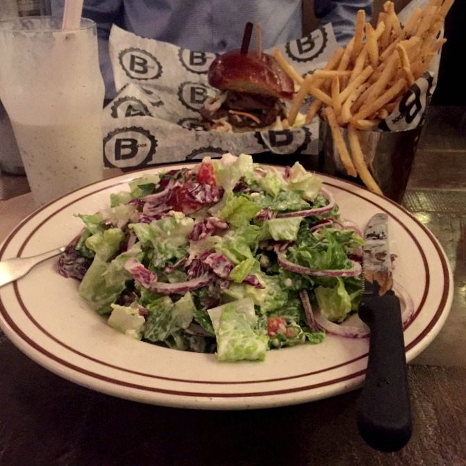 B Spot Dinner - Salad, Fries and Milkshake