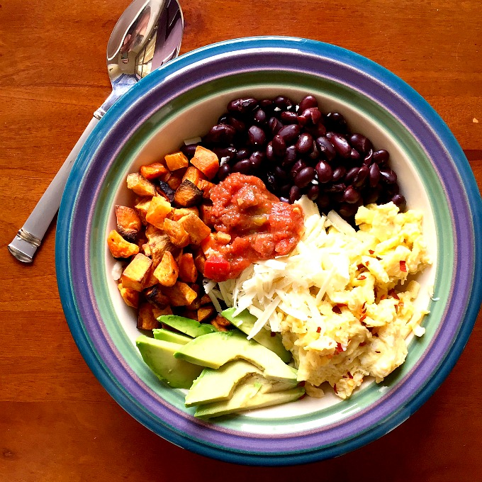 Breakfast Bowl with Scrambled Eggs, Sweet Potaotes, Black Beans, Cheese and Avocado