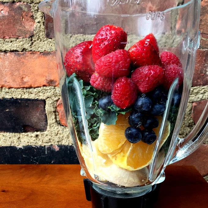 Breakfast Smoothie Banana, Orange, Kale, Blueberries, Strawberries and Raspberries