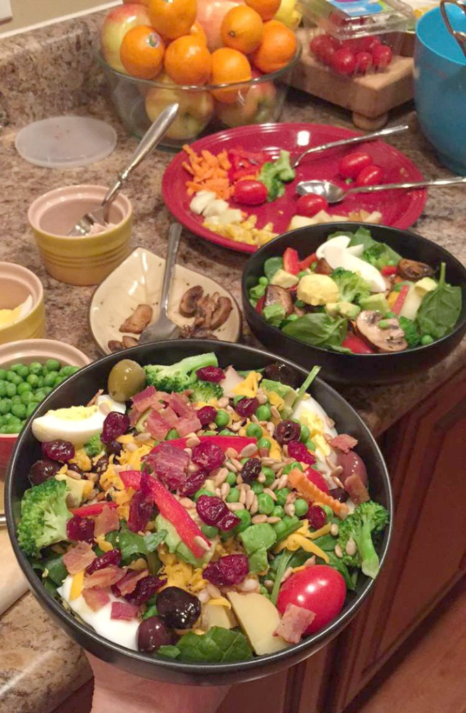 Salad Bar for Dinner at Liz's House