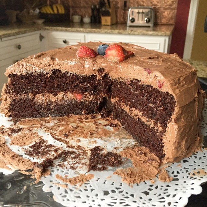 Chocolate Layer Cake with Chocolate Buttercream Frosting