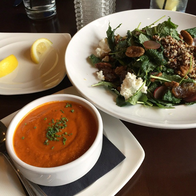 Tomato Basil Soup and Kale Salad at Bold