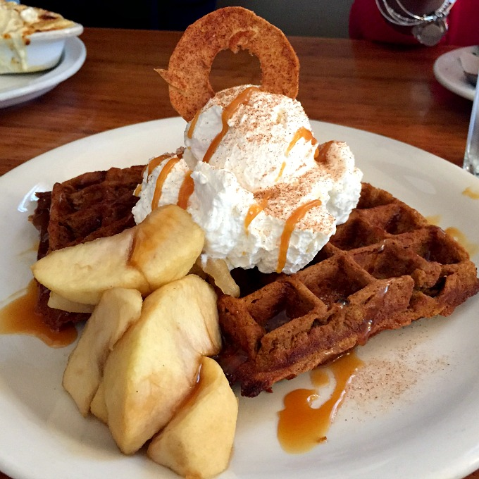 Lucky's Apple Caramel Waffles