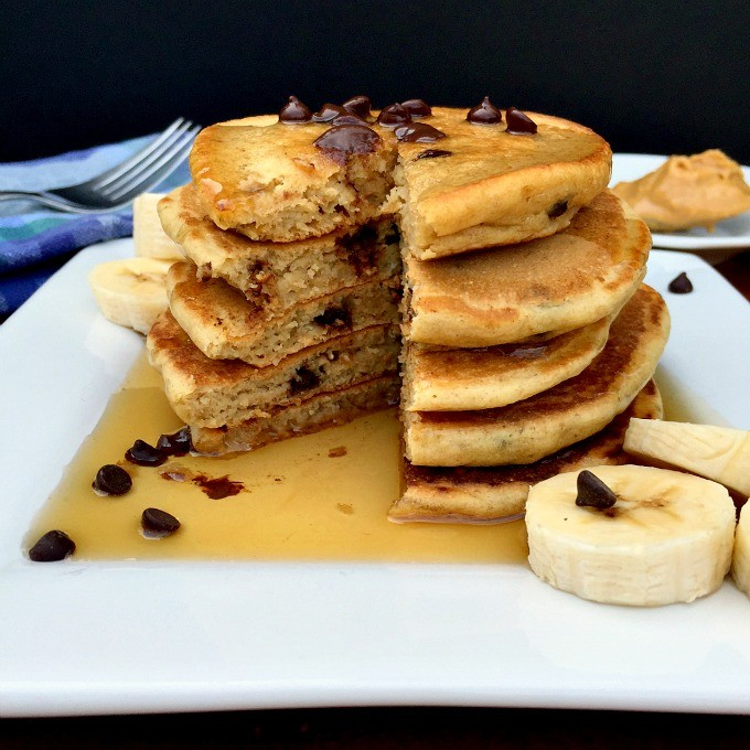 These fluffy pancakes are packed with the rich and decadent combination of peanut butter and chocolate.