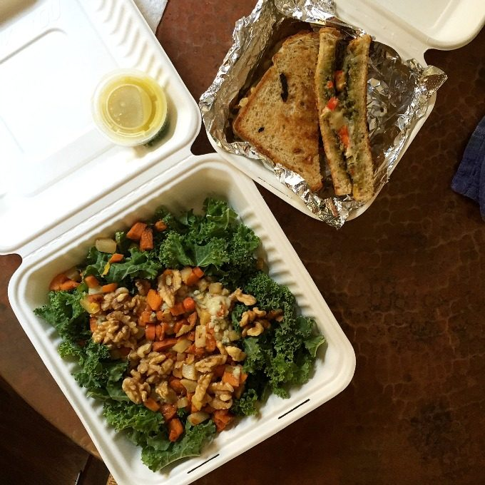 Kale Salad with Roasted Veggies and Gorgonzola and a Pesto Melt Sandwich from Roots Cafe