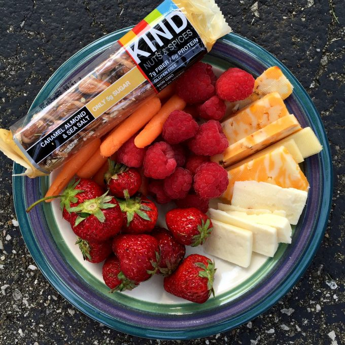 Fruit and Cheese Plate with Carrots and Kind Bar - Breastfeeding Snacks