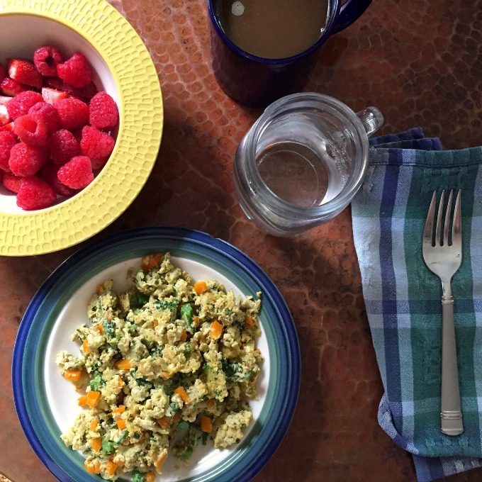 Pesto and Veggie Scrambled Eggs and Fruit