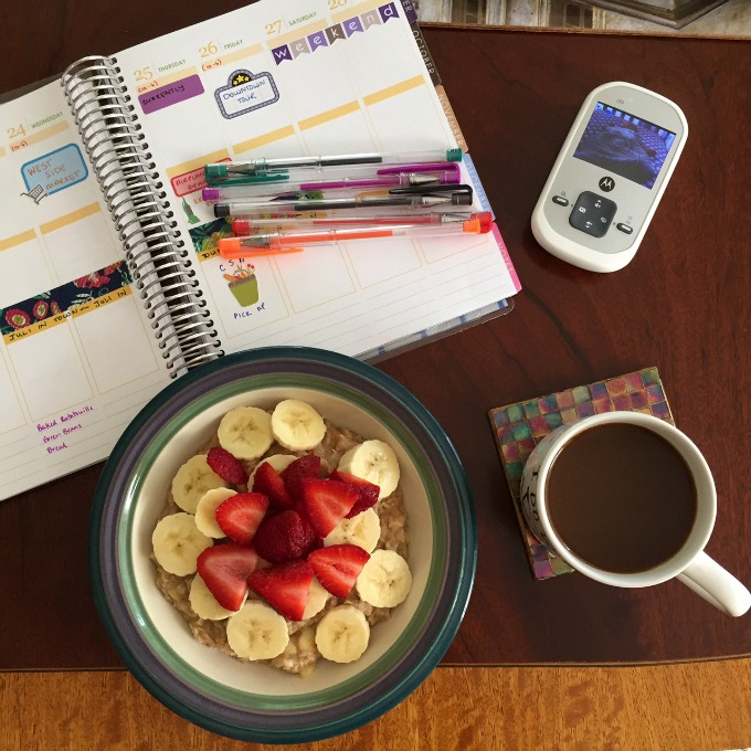 Planner, Oatmeal and Coffee