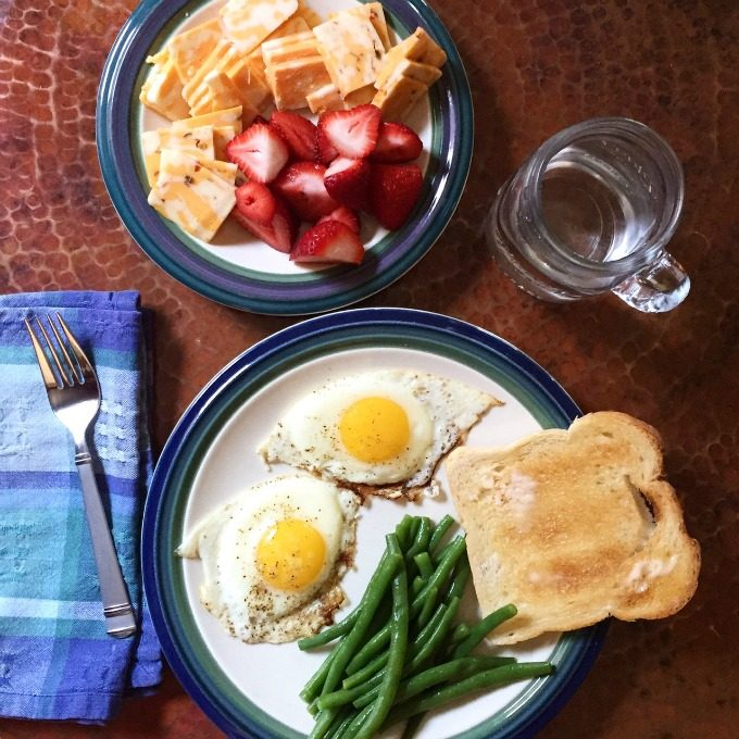 Smorgasbord Lunch - Fried Eggs, Green Beans, Bread, Fruit and Cheese
