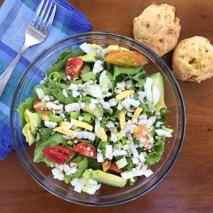 Summer Salad with Green Onion Cheese Puffs