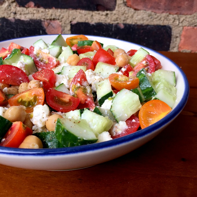 Cucumber Tomato Salad with Feta and Chickpeas - Clean Eats, Fast Feets