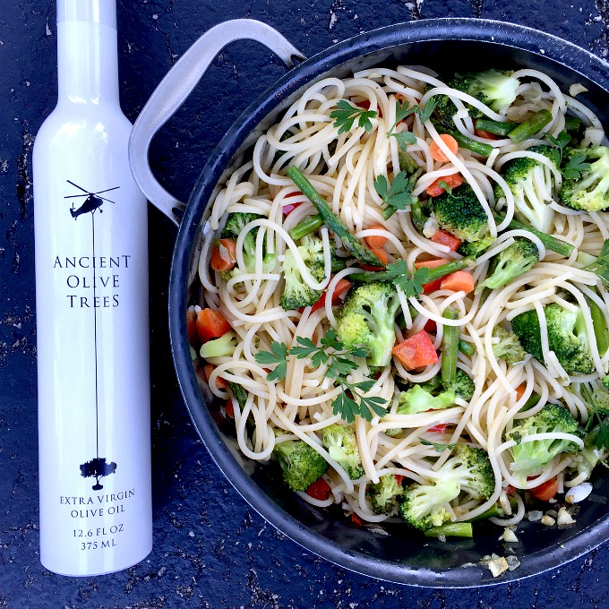 This simple pasta recipe is loaded with flavor, vegetables and heart healthy olive oil.