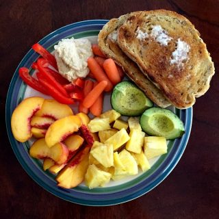 snack-plate-lunch-veggies-and-hummus-bread-and-butter-avocado-and-fruit
