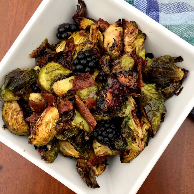 The combination of crispy roasted Brussels sprouts, sweet blackberries and salty bacon make a unique, yet perfect pairing of flavors.