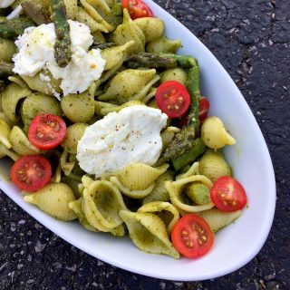 Pesto Pasta with Grilled Goat Cheese and Asparagus