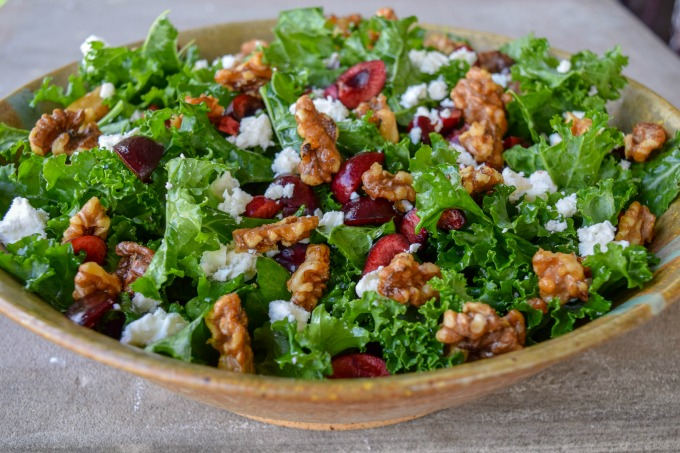 This kale salad kicks things up a notch with the addition of sweet cherries, tangy feta, and candied walnuts. You'll never see kale the same way again.