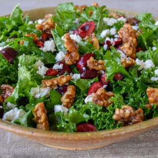 Crisp Kale Salad with Sweet Cherries and Tangy Feta